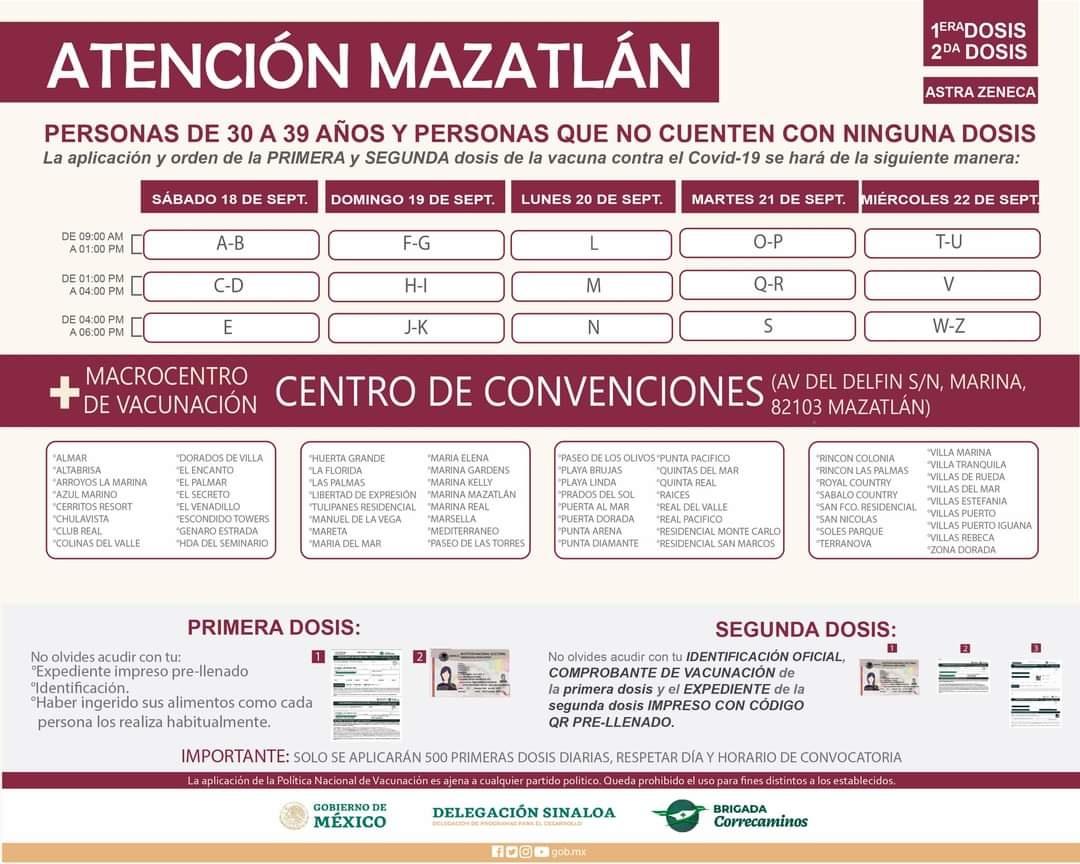 Del 18 al 22 de septiembre se llevará a cabo la vacunación de la primera y segunda dosis a personas adultas de 30 a 39 años