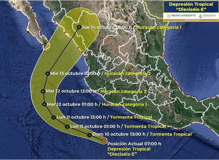 """Se pronostica que la depresión tropical """"Pamela"""" podría llegar el miércoles a Sinaloa como huracán"""