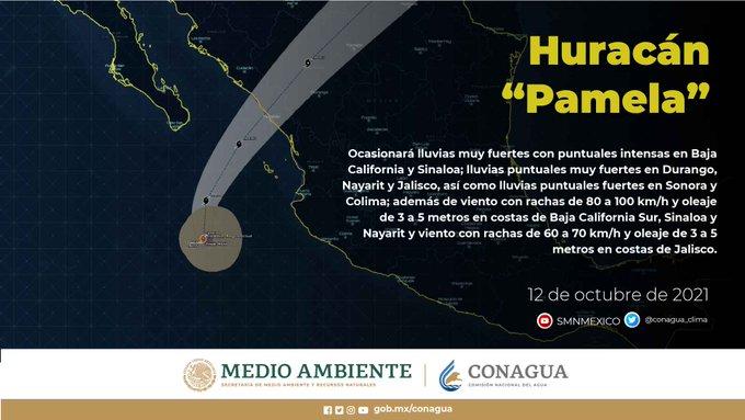 Pamela, huracán de categoría 1, ocasionará hoy martes, lluvias intensas en Sinaloa